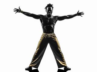 man capoeira dancer dancing silhouette