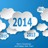 Modern New Year greeting card with paper clouds on blue backgrou