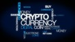 Crypto currency animation tag cloud digital money coin
