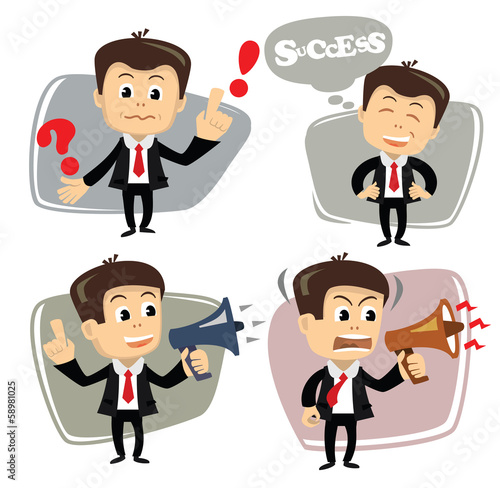 vector businessman in various poses uses megaphone