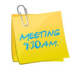 meeting info written on a yellow post.