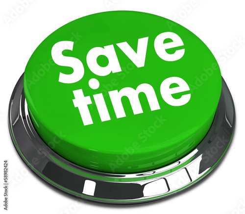 save time - green 3d round pushbutton