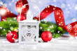 Composition with Christmas lantern, fir tree and decorations