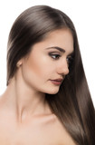 Haircare. Beautiful shiny brown hair model, isolated on white poster