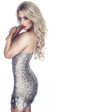 Sexy woman in a metallic silver cocktail dress