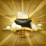 Typewriter, old style vector background