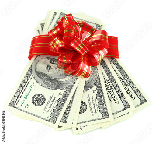 Dollar bills with red bow isolated on white
