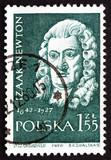 Postage stamp Poland 1959 Isaac Newton, English Scientist