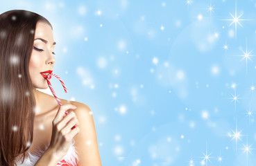 girl with christmas candy cane