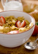 corn flakes cereal with fresh strawberries.