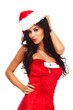 santa helper on white background with long hair