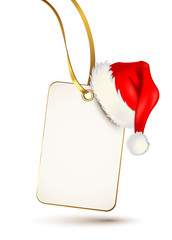 Etikett mit Weihnachtsmütze