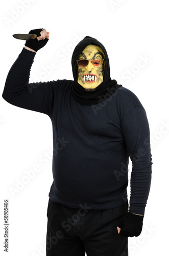 Maniac in a mask waves a knife