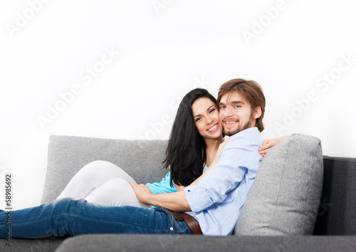 young couple at home