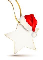 Sternetikett mit Weihnachtsmütze