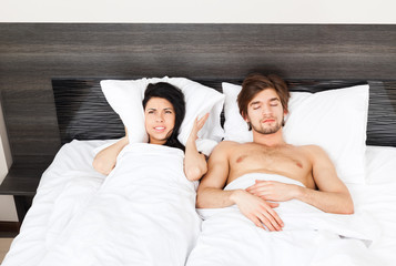 young couple bed
