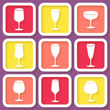 Set of 9 retro icons with different wine glasses. Eps10