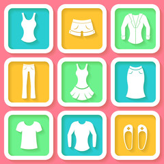 Set of 9 colorful icons of female clothing. Eps10