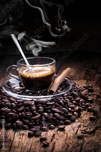 Plexiglas Cafe caffè espresso in tazza bollente