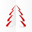 White and red cutout paper Christmas tree