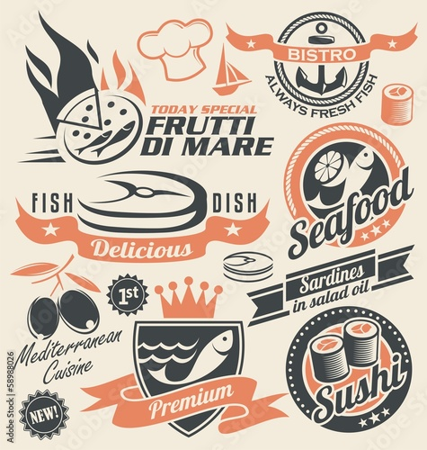 Set of seafood icons, symbols and signs