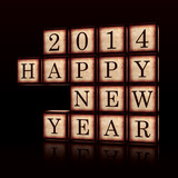 Happy New Year 2014 in 3d wooden cubes