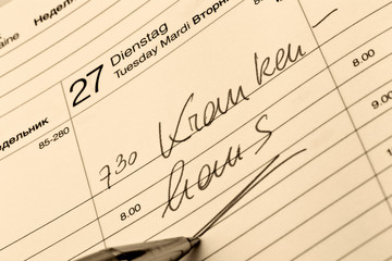 Eintrag im Kalender: Krankenhaus