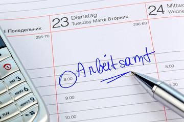 Eintrag im Kalender: Arbeitsamt