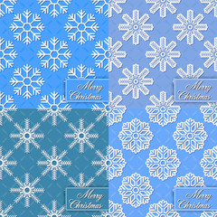 Set of background from snowflakes for Merry Christmas