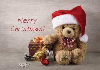 Рождественский фон с мишкой.