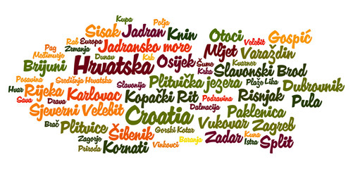Croatia word cloud in croatian language