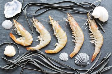 Shrimp, seafood, raw  prawns prepared for cooking