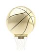 Golden oversized basketball ball over hoop