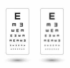 sharp and unsharp simple snellen chart with one symbol