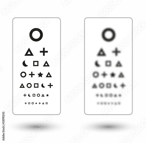 sharp and unsharp snellen chart with symbols for children