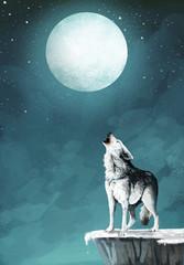 lobo y la luna