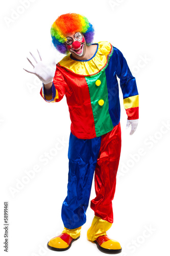Clown saying hello isolated on white