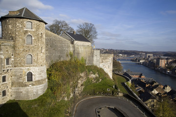 View on Citadel and Meuse river in Namur, Belgium