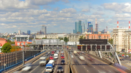 Moscow highway car time lapse