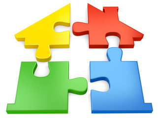 bunte Haus Puzzle