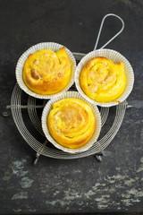 Saffron buns with almond paste filling