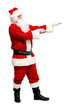 Santa Claus smiling pointing on empty hand, isolated on white