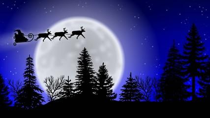 Rentierschlitten über Waldkulisse mit Mond - Frohe Weihnachten!