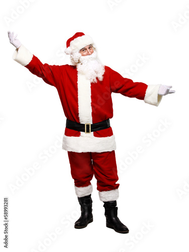 Happy traditional Santa Claus. Christmas. Isolated on white