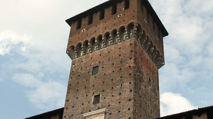 Tower and statue in Sforza Castle in Milan