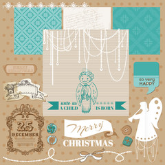 Scrapbook Design Element - Vintage Christmas Angel Set