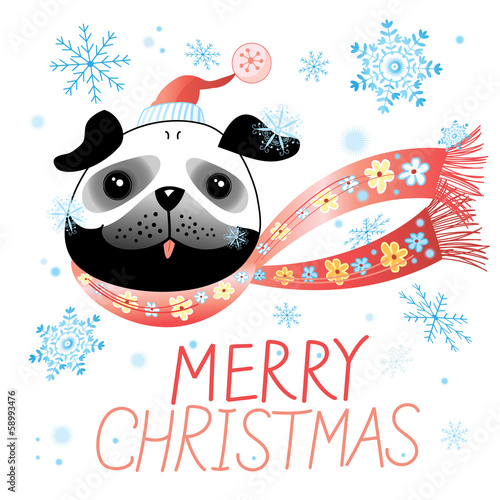 Christmas card with pug