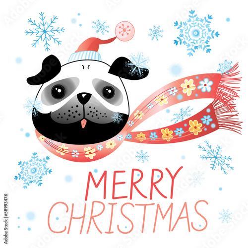 Christmas card with pug