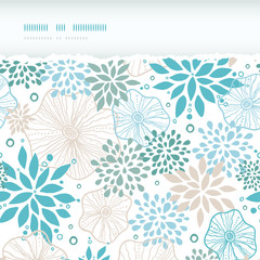 Vector blue and gray plants horizontal torn seamless pattern