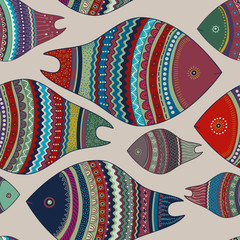 Vector illustration seamless pattern colorful fish